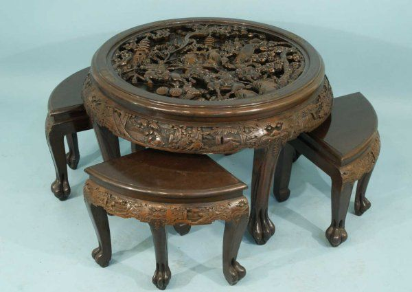 Chinese Carved Wood Table | 28: ANTIQUE CHINESE CARVED WOOD NEST OF TABLES  : Lot