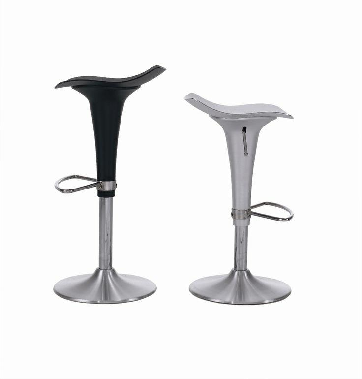 Key West - Barstol i lackat stål med underrede och fotstöd i mattborstat stål, höj och sänkbar.