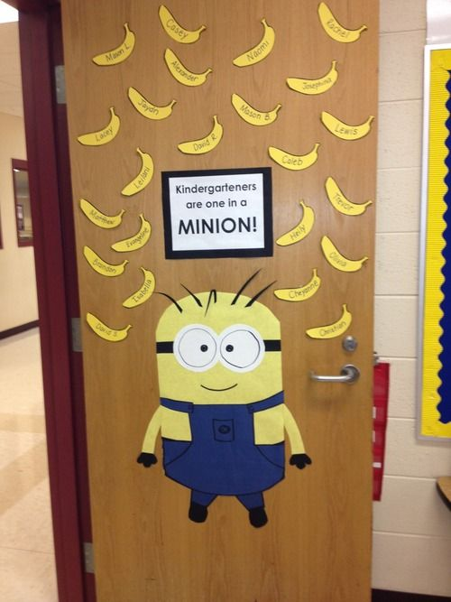 Back to school minion decorations - is this too young for grade 7 homeroom? It's pretty awesome.