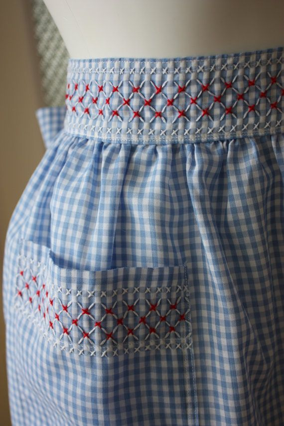 Blue gingham apron hand embroidered chicken scratch apron gift item vintage 60s…