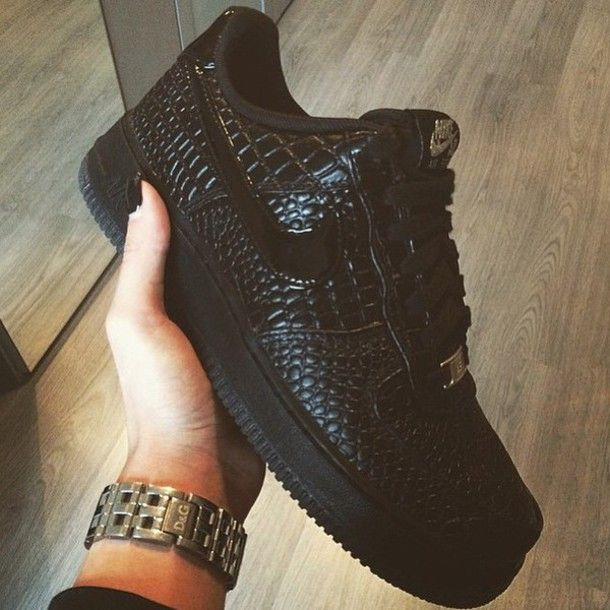 shoes nike air force low black leather dope nike air force low