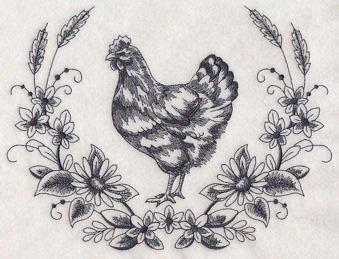Hen Sketch Wreath design (L3500) from www.Emblibrary.com