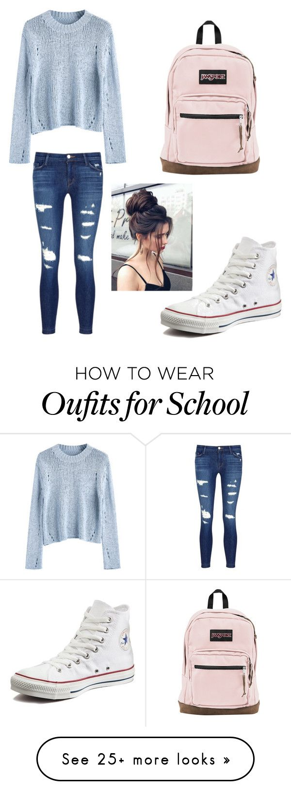 """""""Casual school outfit"""" by itskaylamarie on Polyvore featuring J Brand, Converse and JanSport"""