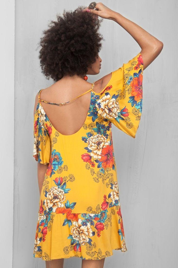 vestido ombro vazado estampado keyko