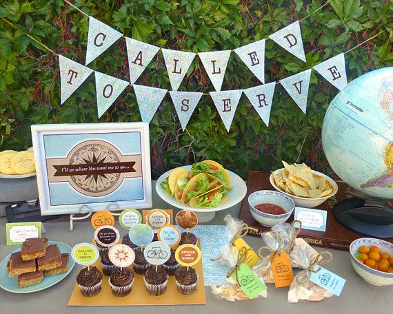 LDS Mission Farewell Party Printable Set or Mission Reveal Party - Travel Themed Party Kit Downloads - Called to Serve Banner & Decorations