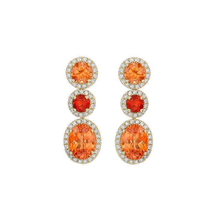 Mandarin Garnet and Fire Opal Earrings - Striking Mandarin Garnet 7.36ct and Fire Opal 0.50ct Earrings set in 18ct Yellow Gold, with sparkling Diamond 0.74ct details. | Kiki McDonough