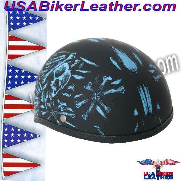 Novelty Skull Cap Helmet / Blue Bonz on Flat Black / SKU USA-H50BU-DS