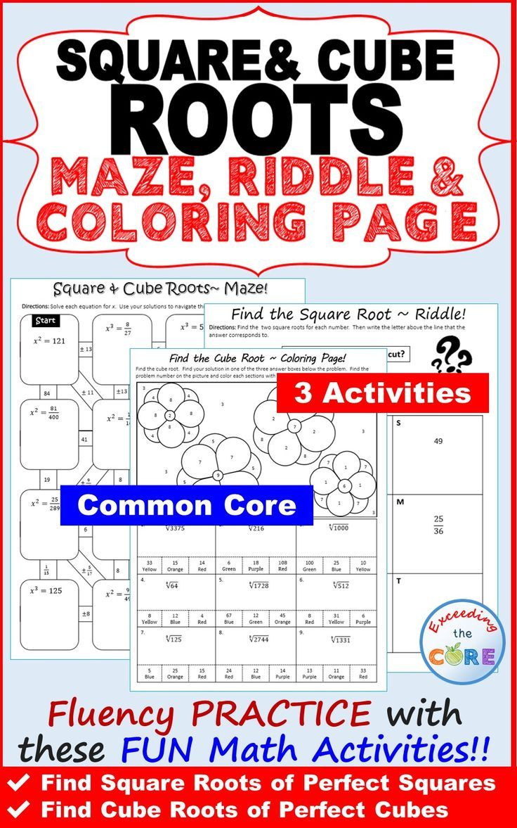 Have your students apply their understanding of finding SQUARE AND CUBE  ROOTS with these fun activities including a maze [ 1177 x 736 Pixel ]