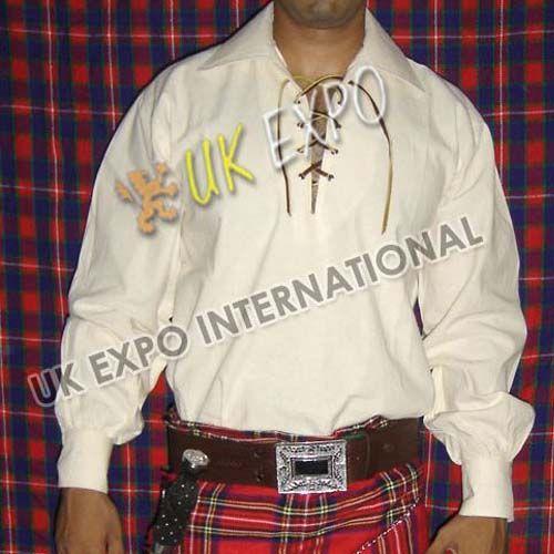 Natural Muslin fabric Cream Color Mens Scottish Jacobite Shirts | UK EXPO INTER NATIONAL