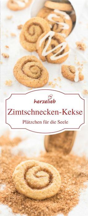 Kekse Rezepte - Plätzchen Rezept für Zimtschneckenkekse von herzelieb #deutsch #foodblog