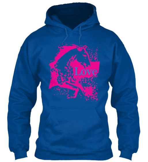 Love your Horse T-Shirt in Pink! on a nice blue hoodie.