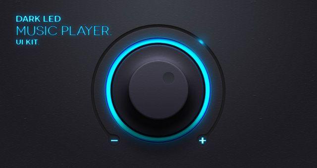 Dark Led Music App UI Kit Psd
