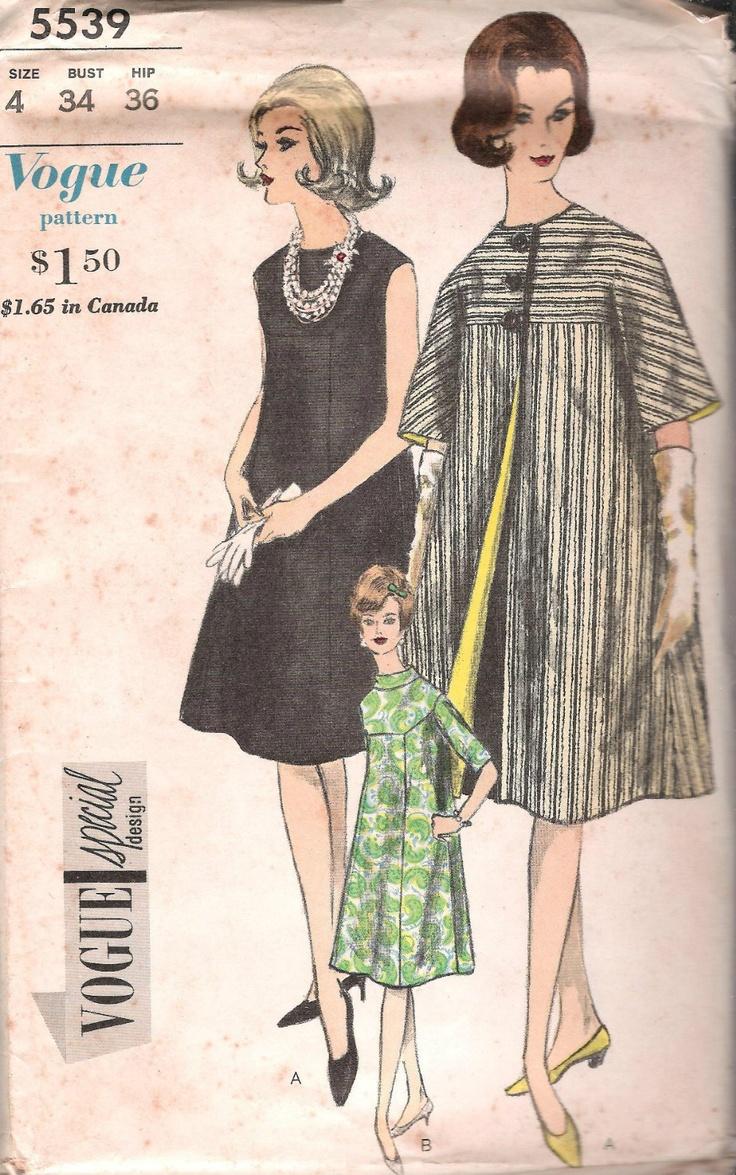 VINTAGE MATERNITY COAT DRESS 60s SEWING PATTERN 5539 VOGUE BUST 34 HIP 36 UNCUT | eBay