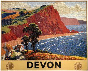 English Railway Travel Art Poster Print, Devon England by GWR