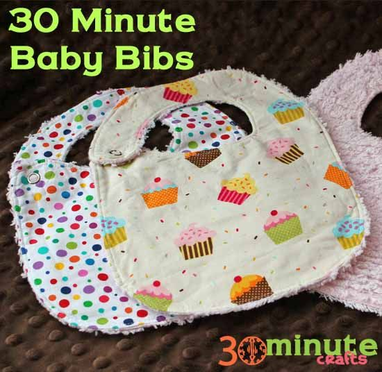 Make this quick and easy baby bib in just 30 minutes (or less)! Use this pattern and two pieces of fabric. Shows both snap and velcro options.