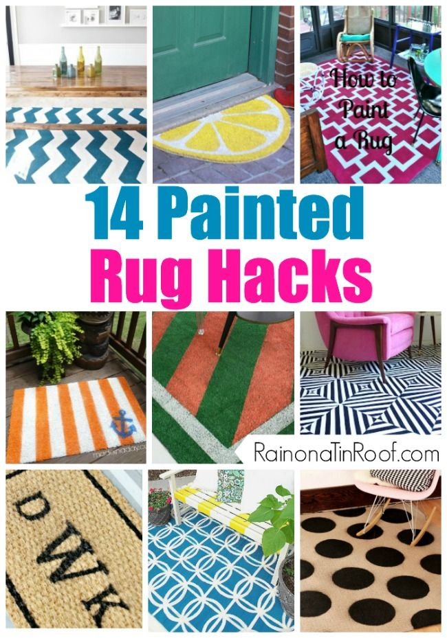 Great ideas for making your own affordable patterned rugs. 14 Painted Rug Hacks via RainonaTinRoof.com #rug #hack #diy #craft #homedecor #paint