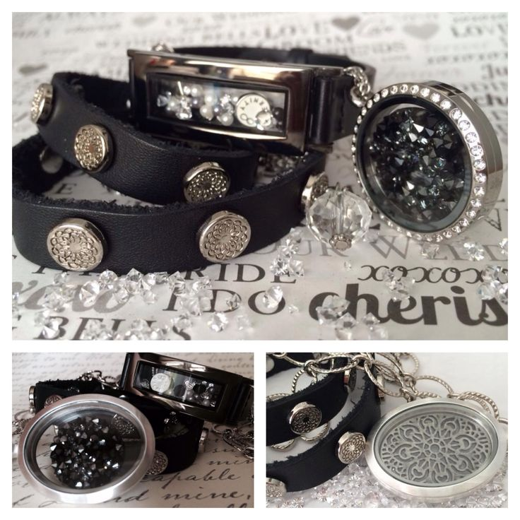 Black leather wrap bracelet, vintage silver oval locket, black crystal embellished screen, graphite locket bracelet, charms, pearls and more by South Hill Designs. http://kazdesignslockets.ca