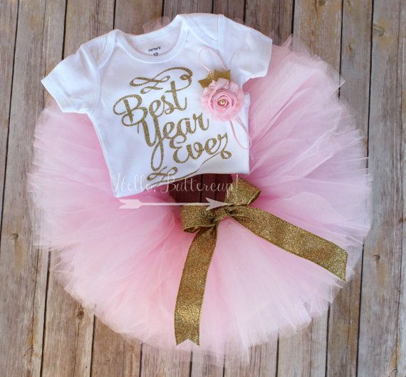 Gold First Birthday Tutu Outfit Glitter One Bodysuit Girls