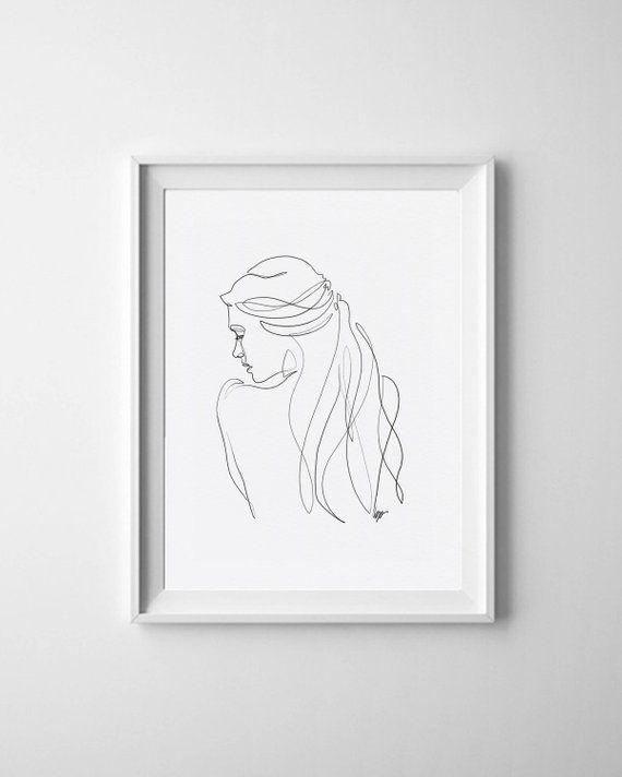 Renée – Fine Art Print of One Single Line Illustration – Kathleen Gerlach