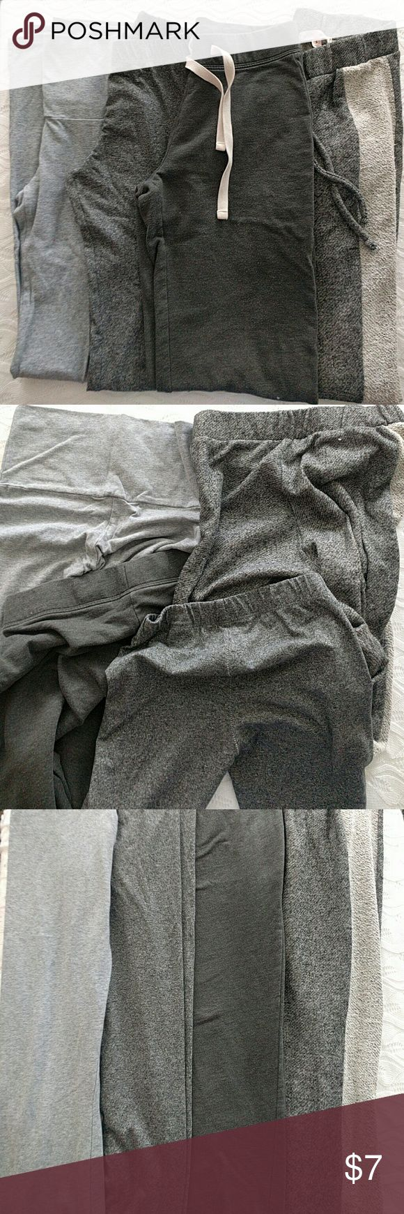 H&M Gray Lounge Bundle of Four Size XS Small Two pairs of joggers, H&M - Wish & Whim (hit ankle for 5'3) One pair Imagenation super stretch yoga (lightest gray) One pair H&M leggings  All were wore and washed once. I have favorite pairs of lounge that I wear on repeat so these are still in great condition. Two XS & Two Small but waist measurements are similar besides leggings of course. See last picture for this comparison H&M Pants Track Pants & Joggers
