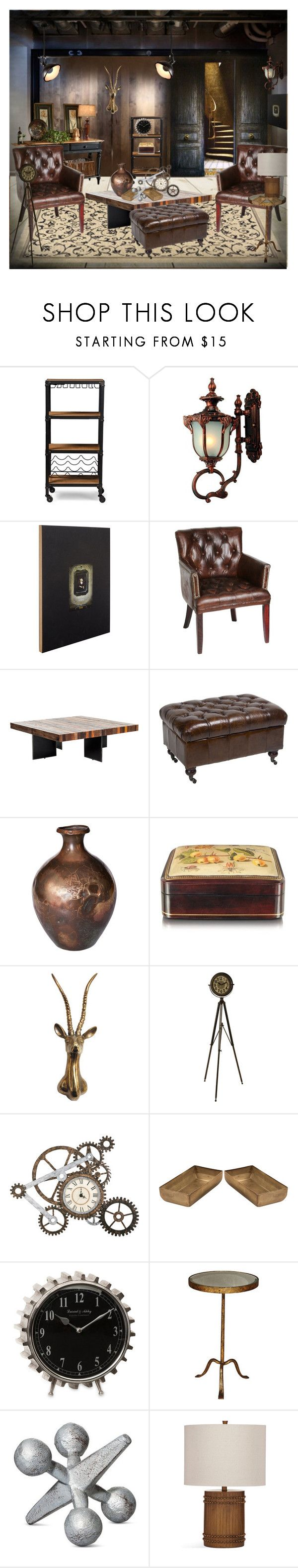 """Vintage & Industrial"" by eco-art ❤ liked on Polyvore featuring interior, interiors, interior design, home, home decor, interior decorating, Cumbria Crystal, Baxton Studio, ibride and WMF"
