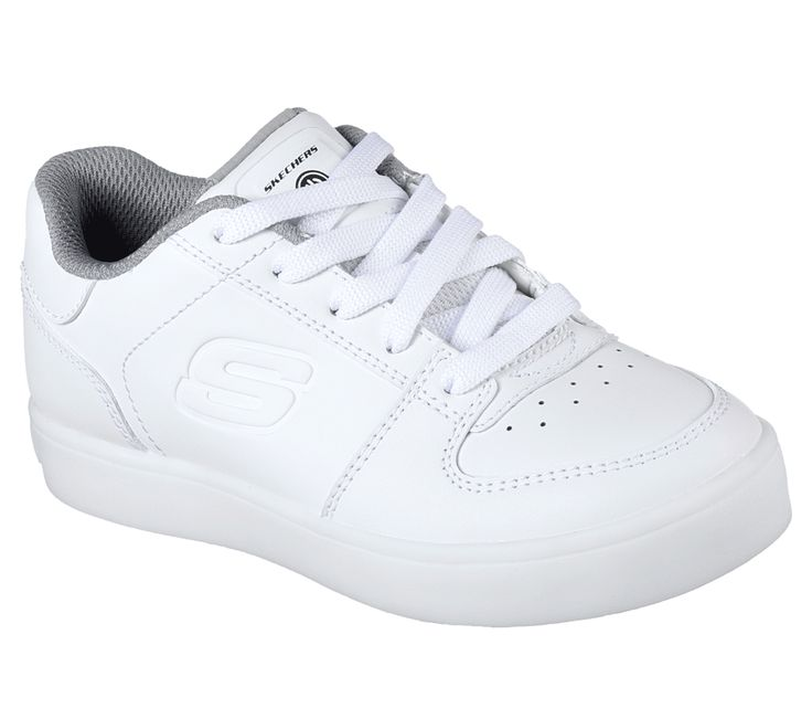 Recharge kids' style with a euphoric spin on a classic look in the SKECHERS S Lights: Energy Lights - Elate shoe. Smooth leather upper in a lace up refined casual light up sneaker with stitching accents and on/off light switch with color changing feature. Dual-charge USB cable.