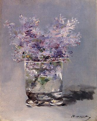 """Lilacs in a Glass"": Manet.  One, Tilly has excellent taste.  Two, I really love this portrayal of lilacs, one of my favorite flowers."