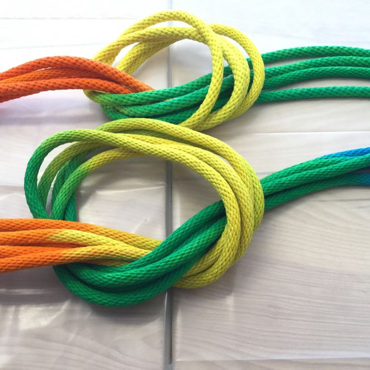 8 ft handdyed rainbow colored jump rope with wooden