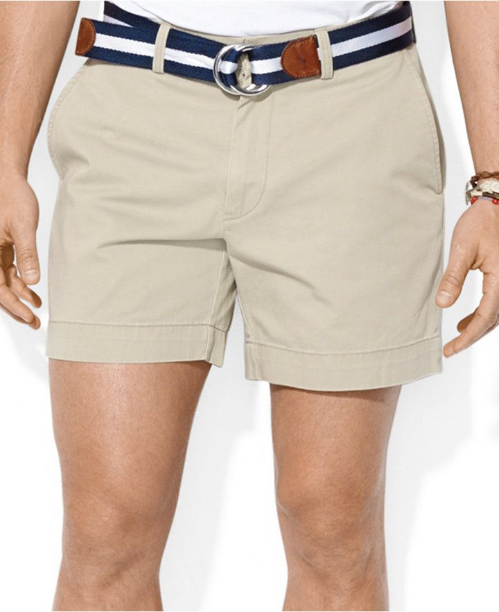 $69, Beige Shorts: Polo Ralph Lauren Core Classic Fit Flat Front Chino Shorts. Sold by Macy's. Click for more info: https://lookastic.com/men/shop_items/256297/redirect
