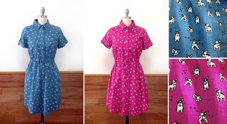 About the Artist dress, bull dog print, blue, magenta.