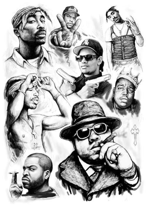 Tupac, Ice Cube, Eazy E and Notorious B.I.G