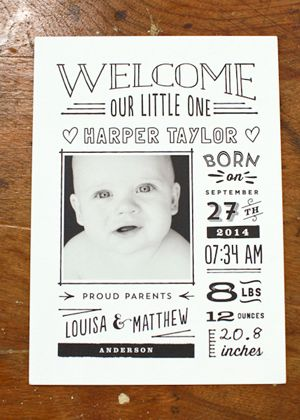 Hand lettered birth announcement - National Stationery Show 2014 Minted 3