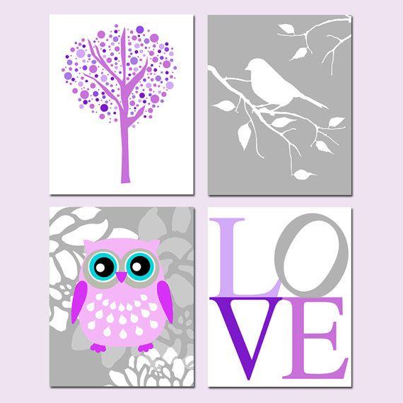 Modern Nursery Quad  Set of Four 8x10 Prints  Tree Dot by Tessyla, $65.00Nurseries Quad, Owls Nurseries, Floral Owls, 8X10 Prints, Baby Girls, Modern Nurseries, Prints Trees, 11X14 Prints, Trees Dots