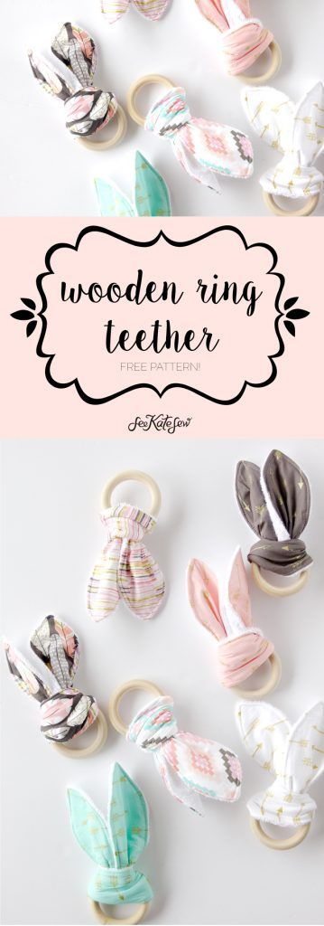 DIY girly bandana bibs + a wooden ring teether tutorial