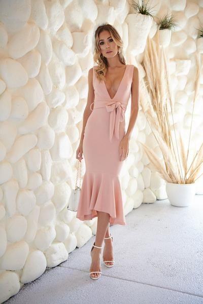 Love this elegant blush semi formal dress! Ultra feminine V neckline and fishtail  hem! 92c766acc