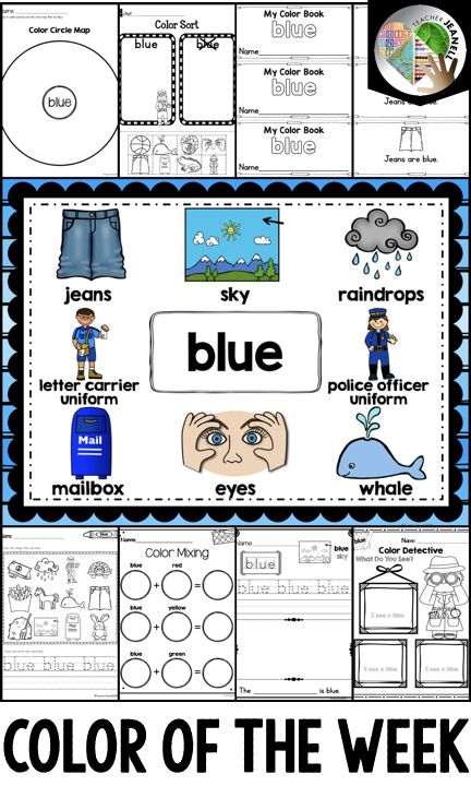 Color of the Week Blue | Blue | Color Blue | Activities for Colors - Blue | Color Word Blue | By Teacher Jeanell