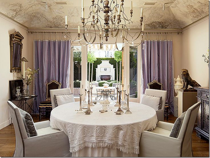 John Saladino Dining Room With Lavender Curtain Panels