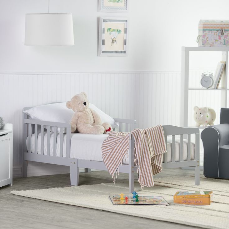 Orbelle Contemporary Solid Wood Toddler Bed   Gray   401G. Kid  FurnitureNursery ...