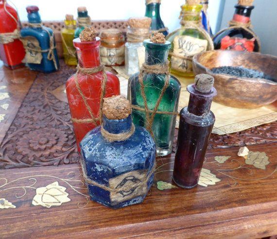 Set of 4 Skyrim Inspired Antique Glass Potion Bottles