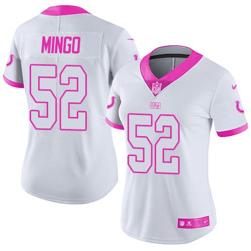Women's Nike Indianapolis Colts #52 Barkevious Mingo Limited White/Pink Rush Fashion NFL Jersey
