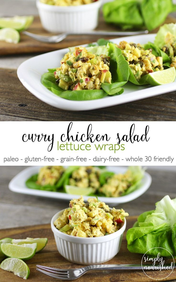 Curry Chicken Salad Lettuce Wraps | Gluten-free, Grain-free, Gluten-free, Dairy-free, Paleo | http://simplynourishedrecipes.com/curry-chicken-salad/