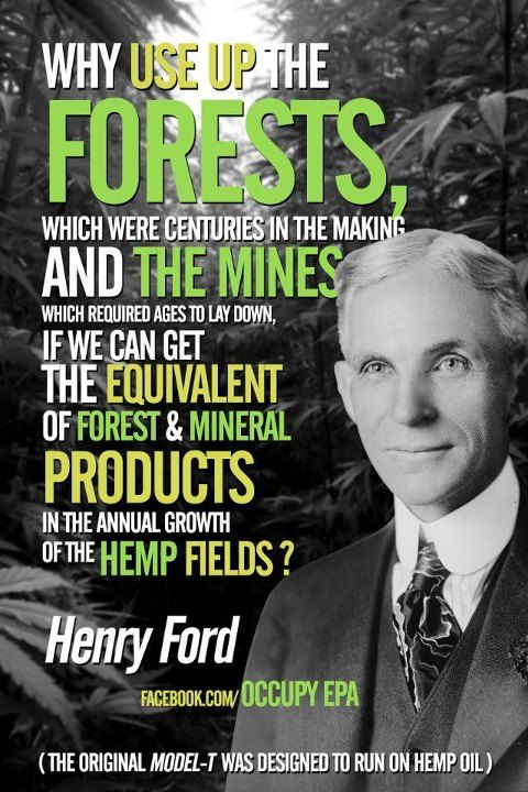 Why use up the forests, which were centuries in the making and the mines if we can get the equivalent of forest and mineral products in the annual growth of hemp fields?!