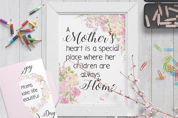Mother's day wall art - pink roses by Lolly's Lane Shoppe on @creativemarket