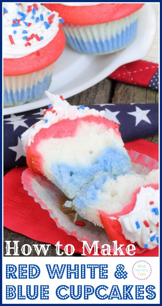 A perfect Memorial Day dessert idea! Learn how to make Red White & Blue Cupcakes - I love these patriotic cupcakes for Memorial Day, 4th of July,  and Veterans Day.