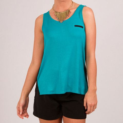Cool, easy fit mullet tank in aqua or pink.
