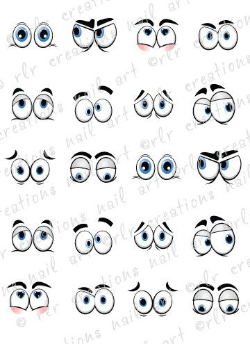 20 Nail Decals SILLY CARTOON EYES Water by RLRCreationsNailArt, $2.25