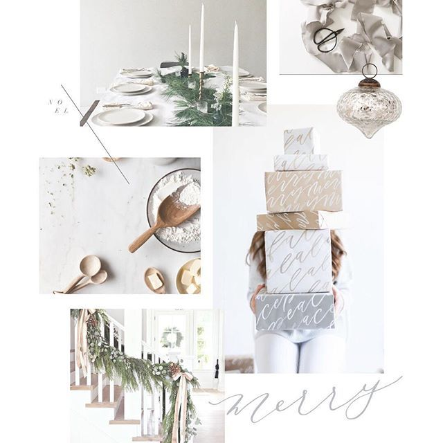 When we're in a mood, we create a mood board. Today's is brought to you by our overwhelming abundance of holiday spirit!   holidays, holiday, christmas, thanksgiving, joy, merry, mood, style, white, neutral, candles, greenery, garland, presents, calligraphy, modern, vintage, grey, tan, beige, cream, ivory   Gatherie Creative