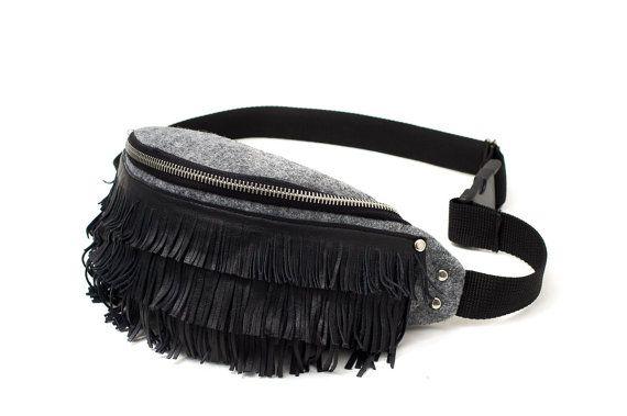 Grey hip bag / waist bag made of stiff felt. Leather tassels by Anardeko