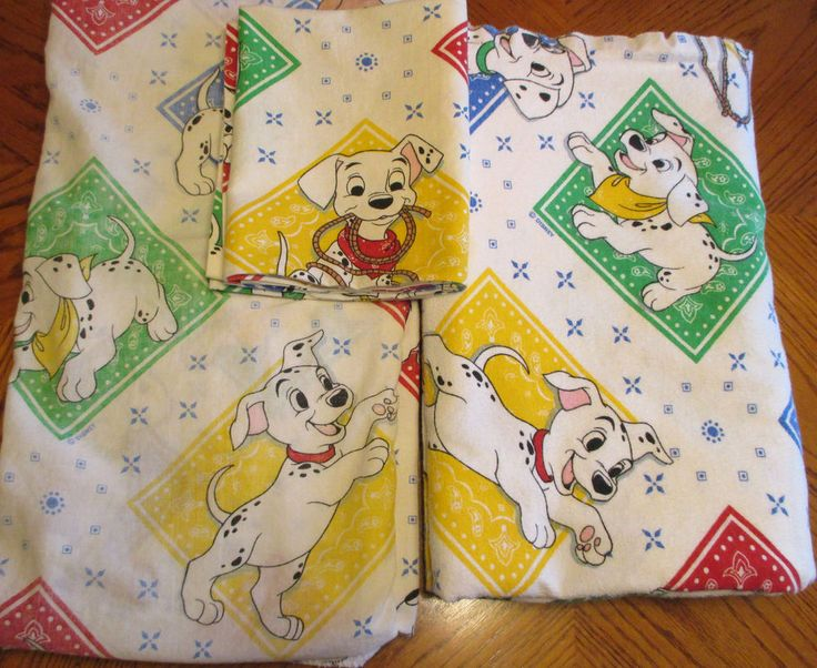 Vintage Disney 101 Dalmation Twin Bed Sheets Set 100% Cotton Flannel Used   Home & Garden, Kids & Teens at Home, Bedding   eBay!