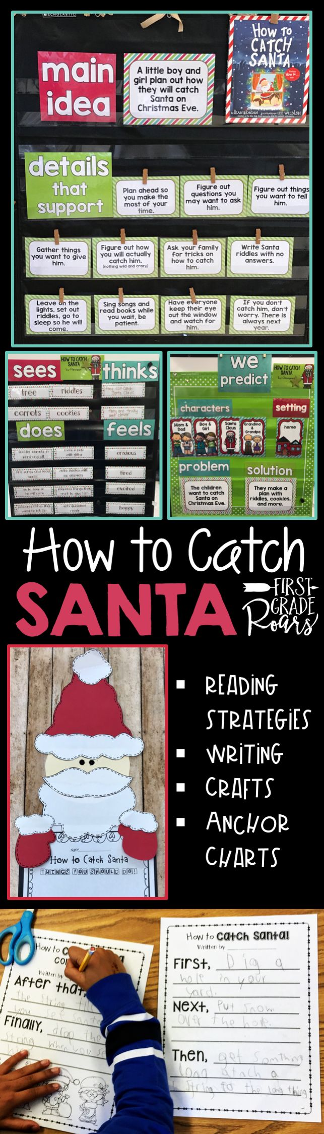 Jean Reagan did it again with this wonderful How To holiday story.  This packet includes anchor charts for predicting, characters, setting, problem, solution, character analysis, main idea, and details.  There are loads of comprehension activities, writing activities and a cute Santa topper craft. Perfect for kindergarten whole group, first grade, and second grade.